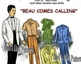 "E660 Vintage ""Beau Comes Calling"" Wardrobe Pattern for 12"" Ken Doll & Other Similar Dolls"