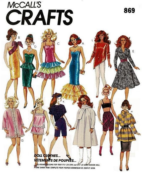 order cheap for discount where to buy Copy of McCalls Barbie Doll Clothes Pattern #869