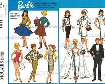 E692 Copy of Vintage Barbie & Ken Wardrobe #7311 with Several Knitted Barbie Clothes Included