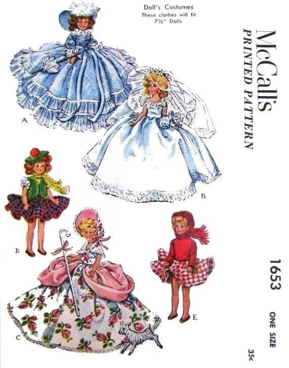 "Fits Ginny Dolls Costume Patterns 7-1//2/"" Doll Vintage no 1653"