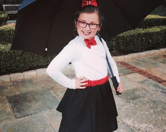 Mary Poppins inspired skirt, bow tie and top hat!!!! Perfect Photo Prop! Birthday costume... Halloween costume …..Tea Party!