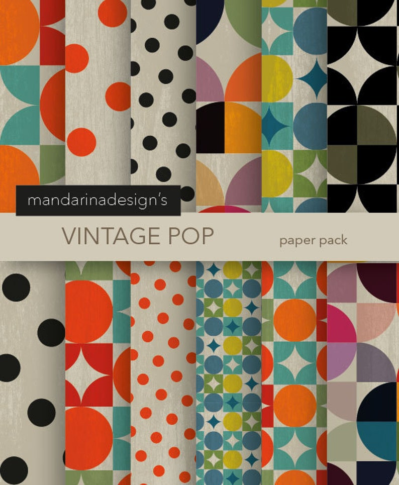dbc124ef461 Vintage Pop Geometric Chic Bold Colors textured PAPER for