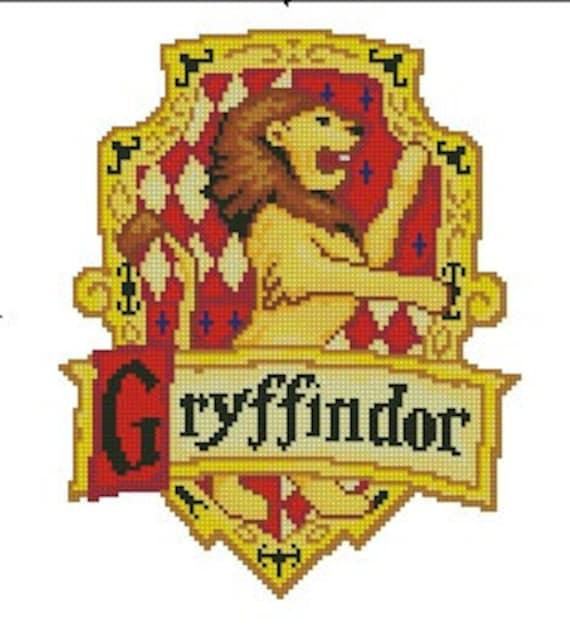 Cross stitch pattern gryffindor logo etsy - Gryffondor blason ...