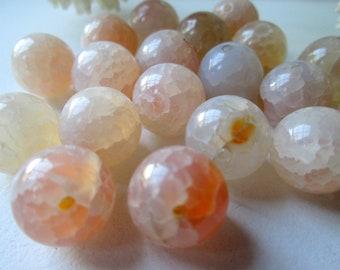 4mm 46Stück Natural Fire Agate Perlen Beads #9223 Beige