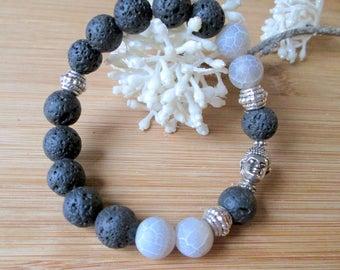 Bracelet with lava beads * Agate Beads * Buddha * Bracelet * Buddha * Strap * Ethno * Asian * beads * Bracelet * Beads * Buddha