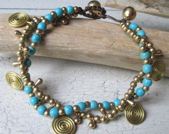 Beaded bracelet with spirals * metal beads * Stone beads * Hippie Boho style *
