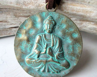 Leather necklace with large Buddha pendant turquoise * Hippie * Boho * ethno * Asian * jewelry * necklace * Leather * statement *
