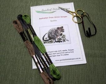 Australian fauna cross stitch chart - Quokka.  PDF instant download.