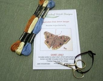 Australian fauna cross stitch chart - Meadow Argus Butterfly.  PDF instant download