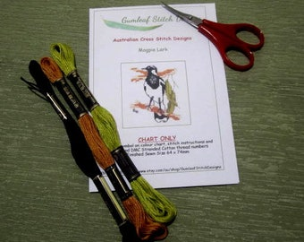 Australian fauna cross stitch chart - Magpie Lark.  PDF instant download