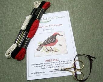 Australian fauna cross stitch chart - Crimson Chat.  PDF instant download.
