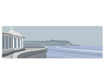 PANORAMIC - SCARBOROUGH SPA - Yorkshire, Coast, Landscape Print, Fine Art, Wall Art, Limited Edition Signed print by Ian Mitchell