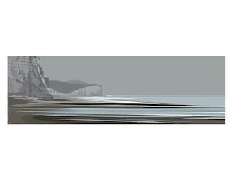 PANORAMIC Ltd Edition Print. Towards Birling Gap. Minimal contemporary archival art print, rail inspired modernist design