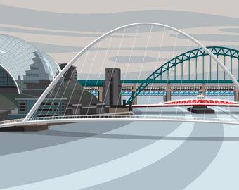 NEWCASTLE & GATESHEAD, Millennium Bridge. Limited Edition Print. Minimal contemporary archival art print, inspired modernist design
