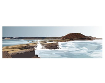 PANORAMIC - Filey Brigg, Yorkshire, Coast, Landscape Print, Fine Art, Wall Art, Limited Edition Signed print by Ian Mitchell