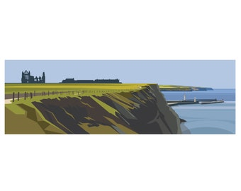 PANORAMIC - WHITBY HEADLAND. Ltd Edition Giclee. Minimal contemporary archival art print, - by Ian Mitchell