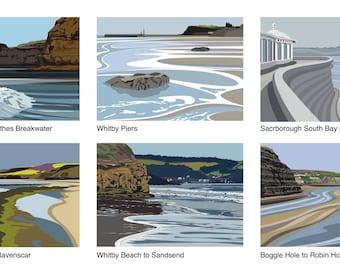 Pack of 6 Yorkshire Coast Cards - YC.Coast.1