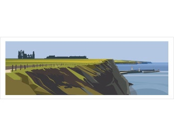 PANORAMIC - Whitby Headland, Yorkshire, Coast, Landscape Print, Fine Art, Wall Art, Limited Edition Signed print by Ian Mitchell