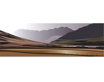 PANORAMIC - Road to Snowdon, Wales, Mountain Print, Fine Art, Wall Art, Limited Edition Signed print by Ian Mitchell