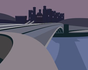 A3 LTD EDITION PRINT. Conwy Castle, North Wales. Minimal contemporary archival art print, - By Ian Mitchell