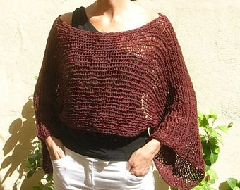 NEW Shrug design!   Hand Knitted Cropped  brown Sweater  Shrug  Spring Summer    Autumn