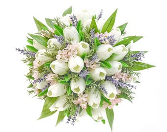 Stemple's Gatherings- A grouping of Real Touch White Tulips, Lavender, Rosemary & Italian Ruscus - Dropped in a vase or as a wedding bouquet