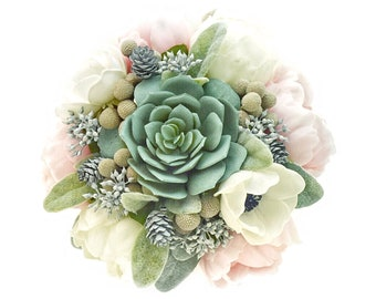 Stemple's Gatherings-Real Touch Peonies, Navy Centered Anemones,Succulents,Brunia,Pine Cones & Lamb's Leaf-In a vase or as a bouquet
