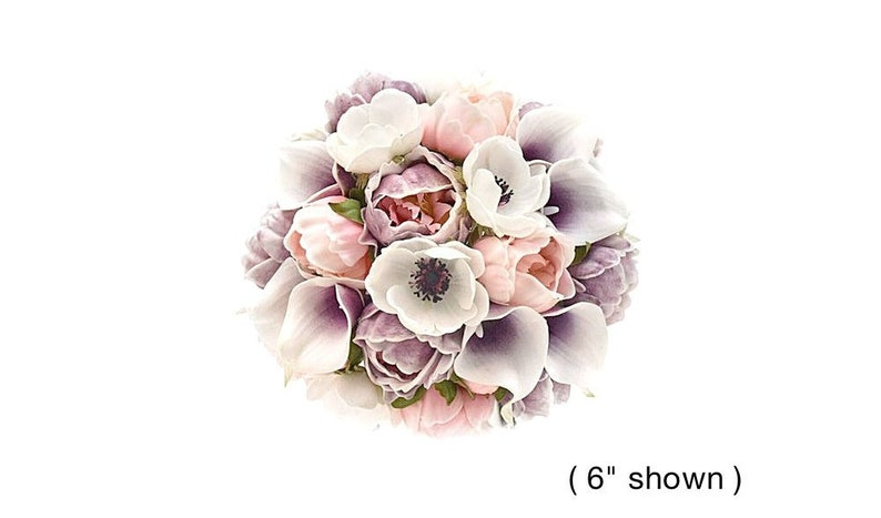Real Touch Lavender Blush Pink Peonies Picasso Plum Calla Lilies Anemones Bridal Bouquet Bridesmaids Bouquets Wedding Flowers