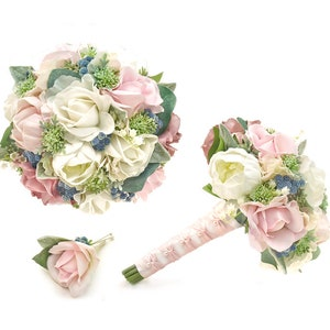 Real Touch Light Peach Roses White Blush Pink Peonies Lambs Leaf Babys Breath Bridal Bridesmaids Bouquets Prom Bouquet Wedding Flowers