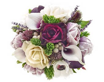 Stemple's Gatherings- Picasso and Plum Callas, Plum and Ivory Roses,Anemones,Peonies,Brunia,Lavender,Hops & Thistle-In a vase or a bouquet