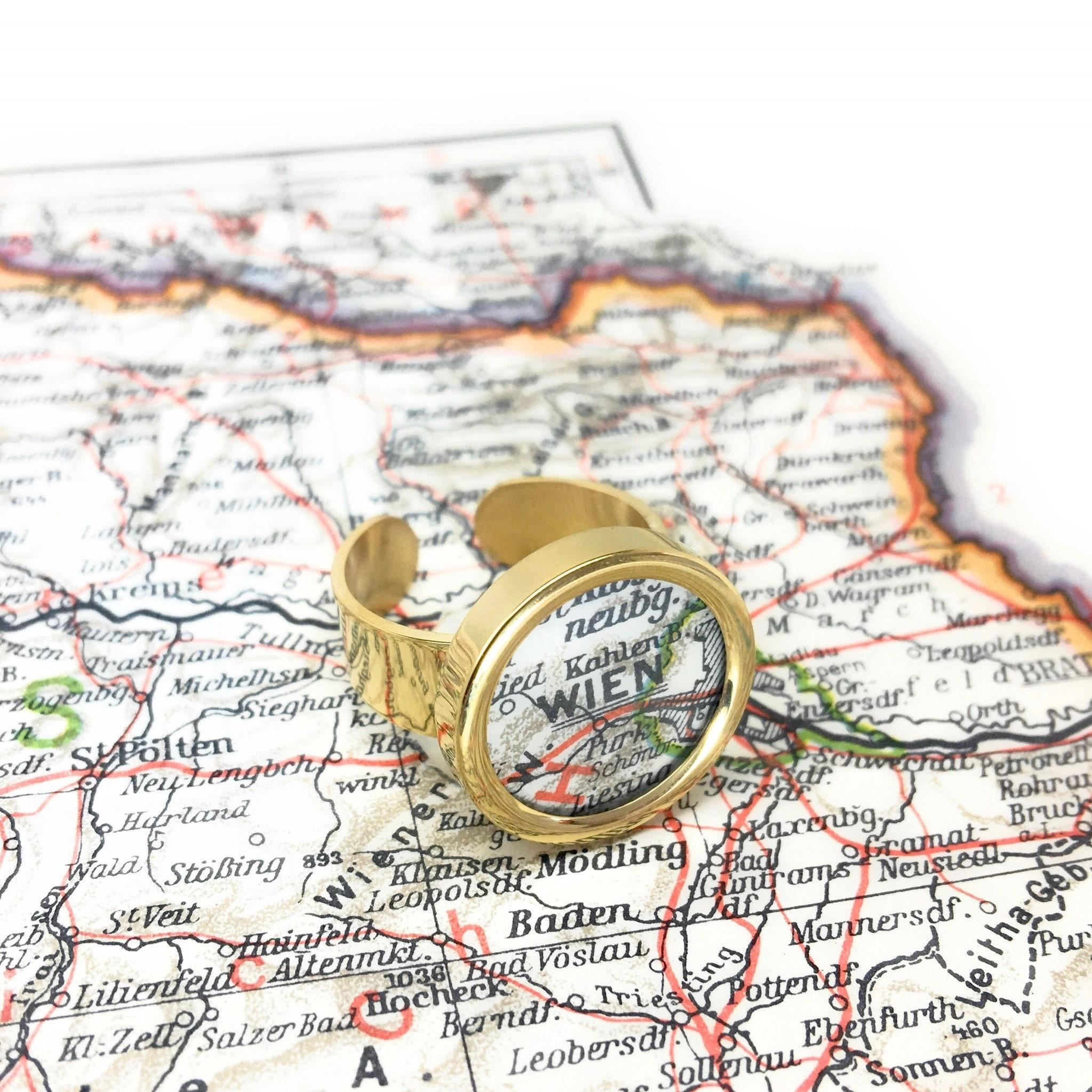 Lieblingsstadt im Ring // Vergoldet // Landkarte // deine