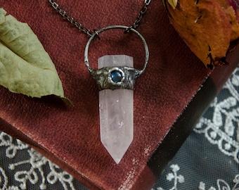 Triple Quartz point moonstone and labradorite moon copper necklace