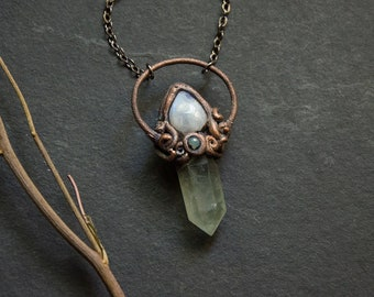 Green Fluorite Crystal Point with Moonstone and Chrysoprase in Hand Scupted Setting | Gemstone Necklace | Electroformed Copper