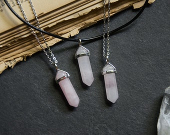 Rose Quartz Hexagonal Crystal Point Pendant Necklace with Stainless Steel Chain or Leather Cord