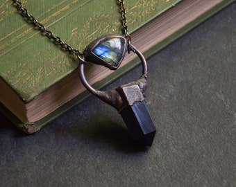 Black Obsidian Point Necklace with Green Blue Labradorite Accent | Natural Crystal | Electroformed Copper