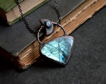 Blue Green Labradorite and Moonstone Necklace | Gemstone Necklace | Antique Copper | Crystal Necklace | Rainbow Moonstone