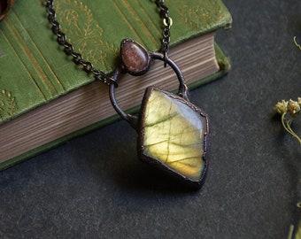 Yellow Labradorite Necklace With Sunstone | Electroformed Copper Gemstone Necklace | Diamond Shaped Labradorite | Electroformed Copper