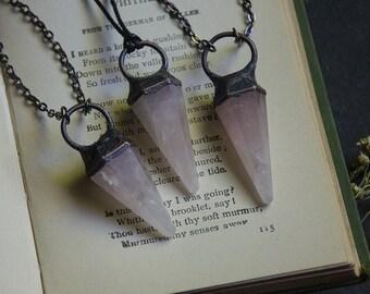 Rose Quartz Pendulum Pendant Necklace | Light Pink Gemstone Necklace | Pendulum Crystal Necklace | Polished Rose Quartz Crystal