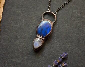 Blue Labradorite Necklace with Moonstone | Natural Crystal | Electroformed Copper |  Blue Labradorite Gemstone Necklace