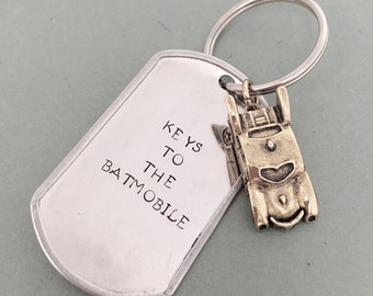 Batman - Keys to the Batmobile - Hand Stamped Keychain - Graduation - Father's Day