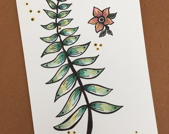 Fern and Flower Greeting Card