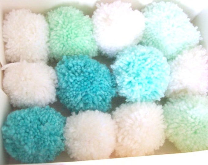 Pom poms green and whites 6cm various quantities party decorations nursery decor baby shower 50 pom poms