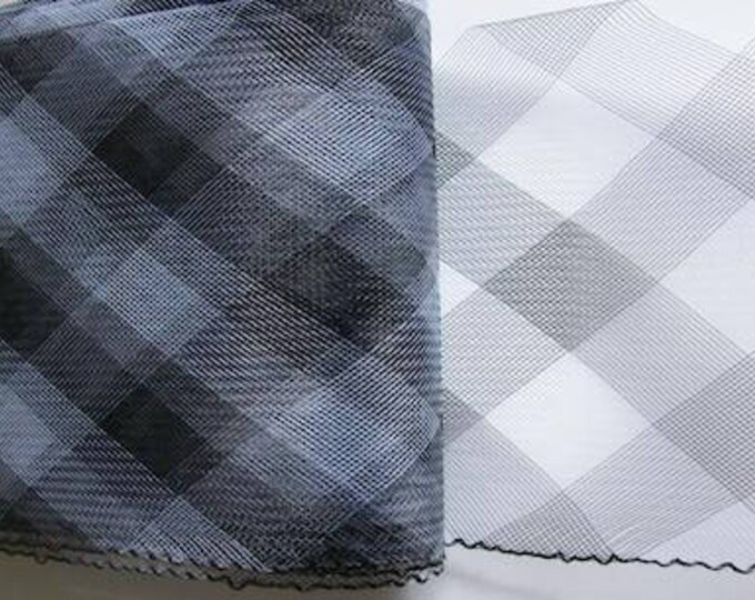 """Crin Fabric UK Black crin 6"""" horsehair plaid crinoline fabric for hat making millinery trimming 6 inch wide   Sold per YARD (continuous)"""