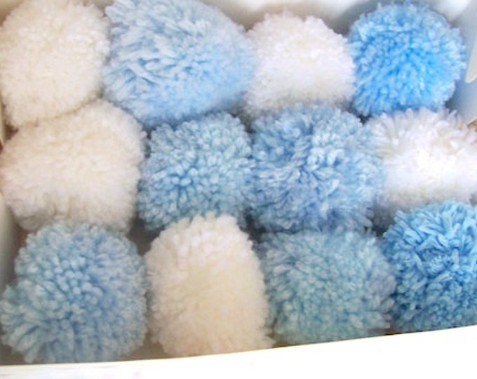 Pom poms baby blue and whites 6cm various quantities party decorations nursery decor baby shower