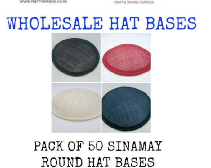"""Sinamay hat base wholesale round 5"""" (13cm) sinamay hat base fascinator base pack of 50"""