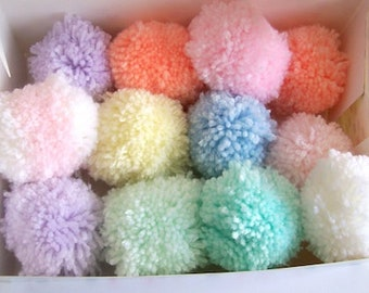 Pom poms pastel colours 6cm various quantities nursery decor baby shower 20 pom poms