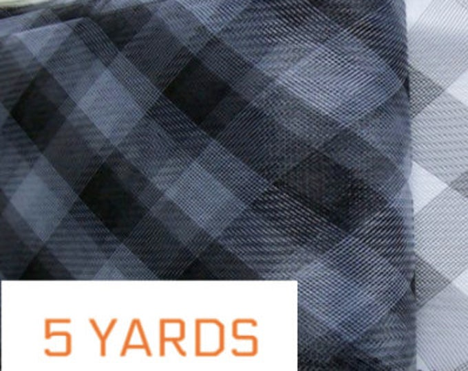 "Black Crin 6"" check (crinoline horsehair braid) 6 inch (16 cm) 5 yards"