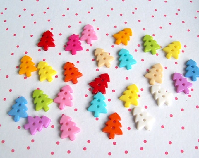 Christmas buttons Christmas tree buttons tree pack 50 mix colour plastic buttons