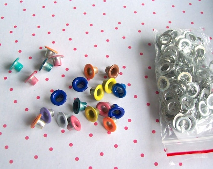 Eyelets Grommets Eyelets colour mix 4mm (inner) 9mm (outer)  eyelets rivets - pack of 20