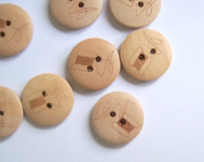 buttons wood sewing pattern qty 8 scrapbooking craft card making sewing knitting